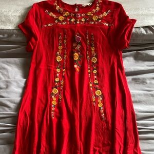 Altar'd State Short Flower Embroidered Dress